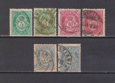 Norway/ Norge-1882-1891 Posthorn- 6 Dif Stamps (Shades) (2 Scans-Last With Thin)