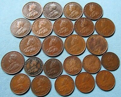 Lot 24 Australia King George V Penny & Half Penny Old Coins 1911-1936 Clearance