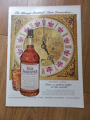 1950 Old Forester Whiskey Ad It's Always Cocktail Tiome Somewhere
