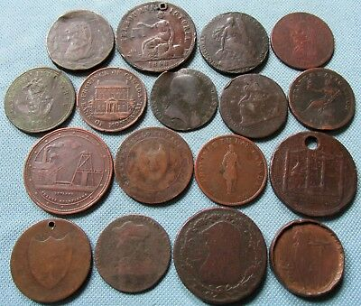 Lot 17 1700s-1800s Copper Coins Penny Halfpenny Tokens Britain Canada Australia