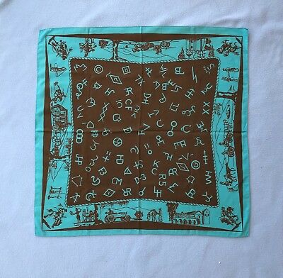 Vintage Scarf With Early California Scenes 1950's