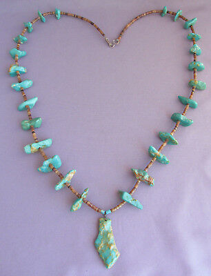 Vintage Chunky Long Old Pawn Heishi Green Royston Turquoise Nugget Bead Necklace