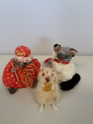 Vtg 3 Stuffed Animals Mouse Cat Mouse West Germany