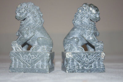 Soapstone carving, FOO Lion DOG, Bookends Grey 4 inches tall