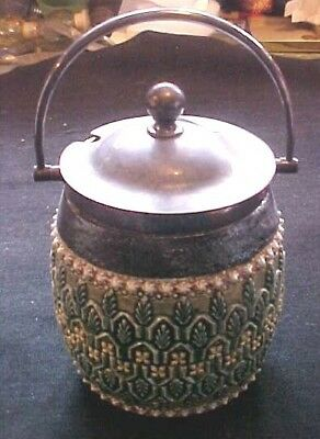 Antique Royal Doulton Lambeth 4 Inch Covered Mustard Jar Wirh Handle  A Honey!