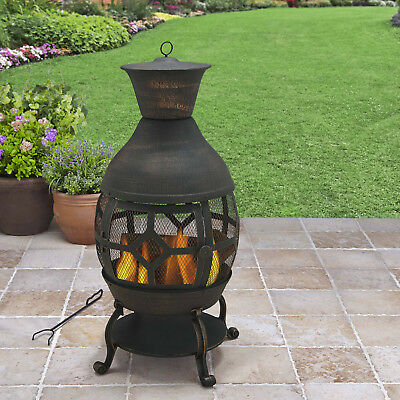 Outdoor Patio Chiminea Firepit Fireplace Yard Garden Fire Pit Wood Cast Iron