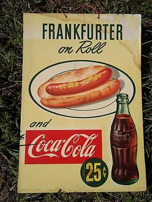 1951 Frankfurter on Roll Coca Cola Cardboard Hanger