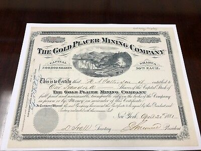 1881 The Gold Placer Mining Co. Stock Certificate - Pikes Peak CO. - PRISTINE!!!