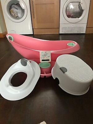 Mothercare Pink Bath & Top & Tail Bowl, Little Star Toilet Trainer Set