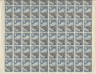 Stamps 1940 Ceylon 3 cent on 6c KGV1 surcharge SG398 sheet of 60 plate 2, MUH
