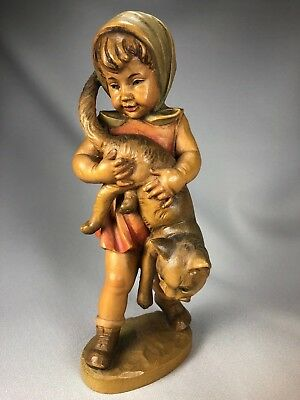 """Large 9 3/4"""" & Impressive Anri Wood Carving Of A Girl And Her Cat, Gorgeous!"""