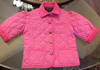 RALPH LAUREN POLO Girls Size 12M  Jacket Kids Pink Quilted Coat Adorable