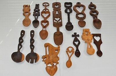 collection of hand carved welsh love token spoons vintage antique some rare