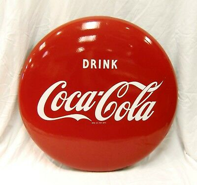 "1950's Vintage 24"" Drink Coca Cola Coke Soda Metal Button Sign"