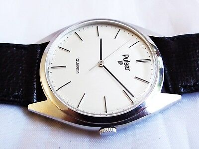 1980s New Old Stock Pulsar By Seiko Men's Stainless Steel Quartz Watch