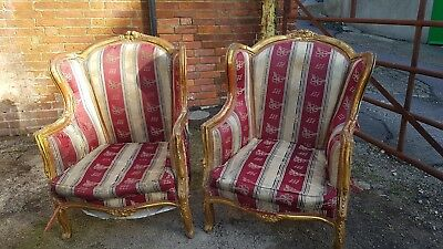 Antique chairs.Pair of Louis XV Armchairs. Original, not repro
