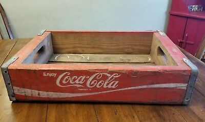 Vintage Wood Coca-Cola Crate Carrier Red Metal Brackets Holds 18 Glass Bottles