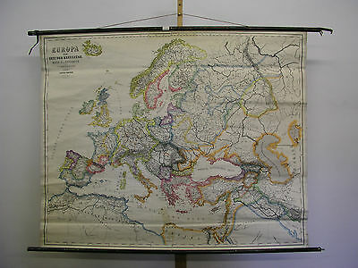 Schulwandkarte Beautiful Old Europakarte Crusades 159x128c ~ 1940 Vintage