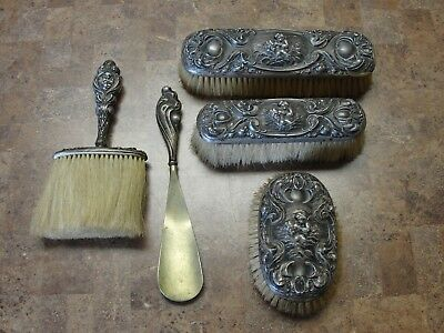 5 PIECES OF Unger Brother's LOVE'S DREAM STERLING SILVER BRUSH SET
