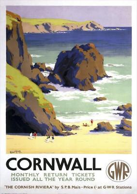 The Cornish Riviera   Cornwall   GWR    Vintage Poster   A1, A2, A3