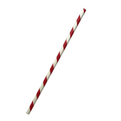 250x Paper Regular Straw Red Stripe Eco Drinking Straws Drink Compostable