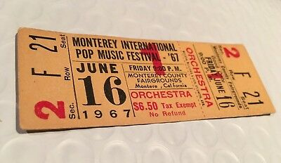 MONTEREY POP FESTIVAL Concert Ticket Stub UNUSED 1967 ERIC BURDON CALIFORNIA