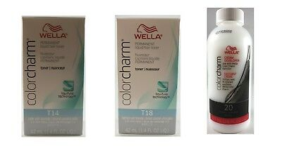 Wella Color Charm - T14 Pale Ash Blonde + T18 Lightest Ash Blonde + 20 Developer