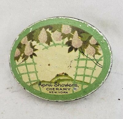Vintage April Showers sample face Powder Cheramy New York LITHO Tin