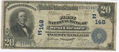 1902 $20 National Bank Note West Chester PA Charter 148