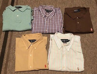 Nice Lot Of 5 Ralph Lauren Polo Collar Button Up Shirts Multicolor Men 2Xl