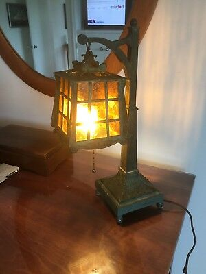 Antique Bronze Arts and Crafts / Mission Table / Desk Lamp