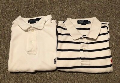 Lot Of 2 Ralph Lauren Polo Collar Button Up Shirts White Men Large Custom Fit