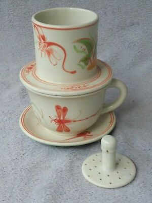 One of a Kind Tea Cup Strainer and Press for Green Tea, Chinese Ceramic Antique