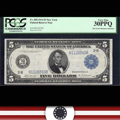 1914 $5 FRN CHICAGO Federal Reserve Note PCGS 30 PPQ Fr 850