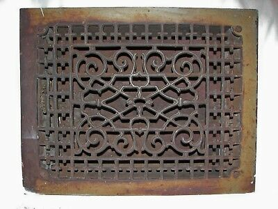 "Antique Ornate Victorian Cast Iron Register Heat Floor Grate 13 3/4"" X 10 3/4"""