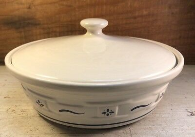Longaberger Pottery Woven Tradition Blue Casserole 1 Quart Dish Bowl w Lid USA
