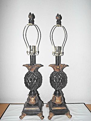 Lamps A Pair Hotel Style 3-Way Ornate Ceramic Tropical Themed Pineapple Lamps