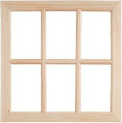 "17""X17""X0.375"" - Wood Window W/6 Panes"