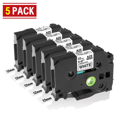 5 PK Compatible for Brother P-Touch TZe-231 Label Tape 12mm 8m Black on White