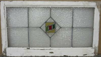 "OLD ENGLISH LEADED STAINED GLASS WINDOW TRANSOM Pretty Geometric 31.5"" x 18"""