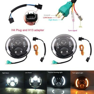 2pcs 7 Inch Round LED Headlight Auto Halo Angle Eye For Jeep Wrangler JK LJ TJ