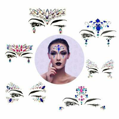2 Body Adhesive Face Jewels Glitter Stickers Tattoo Eye Gems 3D Rhinestone Party