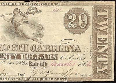 1862 $20 Raleigh North Carolina Note Currency Bill Of Exchange Back Paper Money