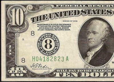 1928 $10 Dollar Bill Numerical 8 Federal Reserve Gold On Demand Note Paper Money
