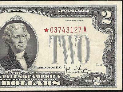 STAR 1928 G $2 DOLLAR RED SEAL UNITED STATES LEGAL TENDER NOTE CURRENCY Fr 1508*