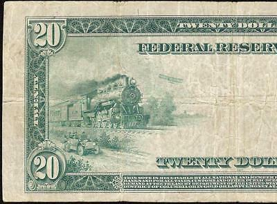 Large 1914 $20 Dollar Bill Dallas Federal Reserve Note Big Currency Paper Money