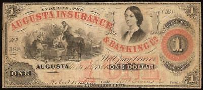 Large 1861 $1 Dollar Augusta Insurance Bank Co Note Currency Old Paper Money