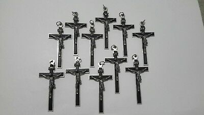Vintage Religious Wooden Signed EBONY Crosses Lot Of 10 Made In France