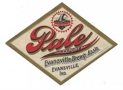 Evansville Brewing Ass'n Pale Export Beer label Pre Prohibition IN