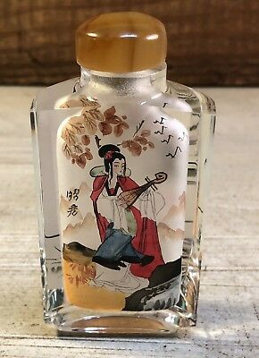 Vintage Oriental Reverse Hand Painted Perfume/Snuff Bottle Girl Playing Mandolin
